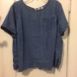Melrose and Market Raw Hem Denim Shirt